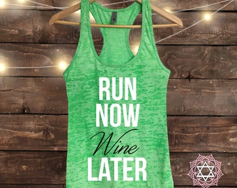 RUN NOW WINE LATER LADIES SPORTS RUNNING TRAINING VEST ALL COLOURS AND SIZES