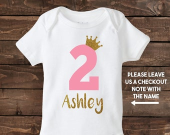 Two Year Old Girl Custom Birthday Shirt