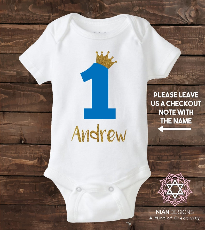 One Year Old Boy Custom Birthday Shirt Glitter