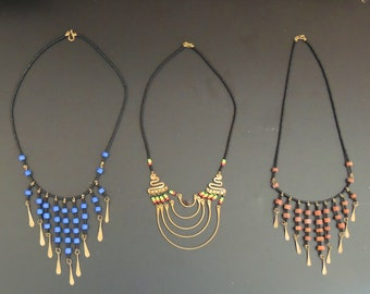 Three  Vintage MAASAI NECKLACES from  the Ngorongoro Highlands in Tanzania
