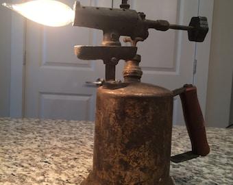 Repurposed vintage blow torch - lamp