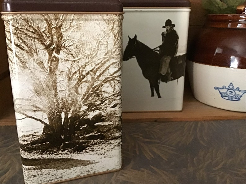 Western themed Storage Tins Vintage Collectible MJB Coffee Tins Set of Two