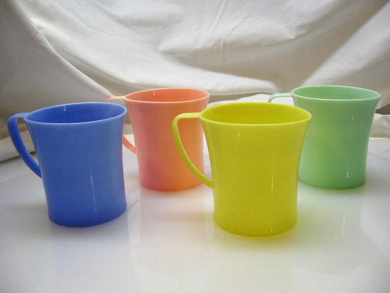 4de76b06275 Set of 4 Vintage Plastic Mugs 1950's Pastel cups Mid | Etsy