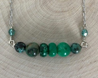 Green Beaded Sterling Silver Necklace