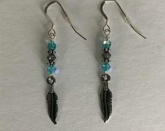 Feather and Swarovski Crystal Silver Drop Earrings
