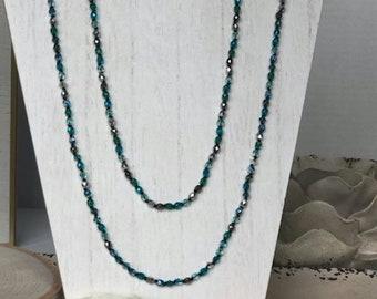 Blue Swarovski Crystal Beaded Rope Necklace