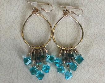 Swarovski Crystal Gold Dangle Hoop Earrings
