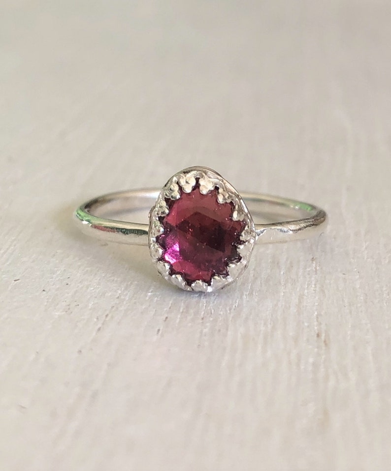 Ring Size 7 Pink Tourmaline Sterling Silver Ring