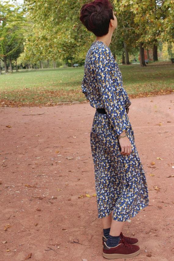 Robe Longue Fleurie Boheme Bleue Imprimee Manches Etsy