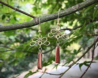 Goldstone Wire Wrapped Earrings