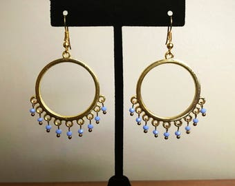 Periwinkle Czech Glass Hoop Earrings