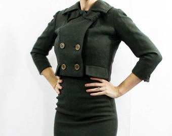 XS or XXS Womens Juniors Vintage 1950s-1960s Cabauiss Nobility Jrs Exclusive Union Made Wool Skirt Suit