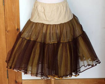 Handmade Vintage 1960s Brown & Yellow Tulle Crinoline Petticoat About Women's Size L