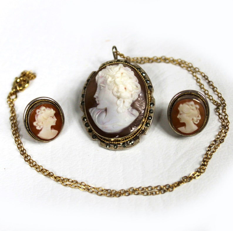 f2649dea86639 Vintage Art Deco 1930s 800 Silver Marcasite Carved Shell Cameo Set Gold  Vermeil Earrings Pendant Brooch
