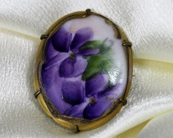 Antique Painted Limoges Painted Porcelain Brooch Violet Flowers C Clasp GF Maybe