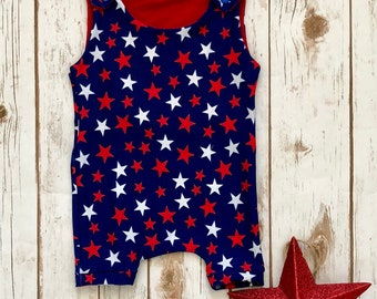 4th of July Red, White, Blue Stars Shortie Romper.