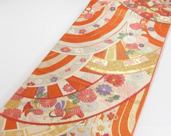 Vintage Majestic Gold and Orange Silk Fukuro Obi Belt with Abstract Sea Waves, Love Birds and Chrysanthemum