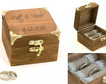Engraved Custom ring bearer box, Wedding ring box, Personalized wedding box, Ring Bearer Pillow, Engagement box, Wedding Ring Box Holder