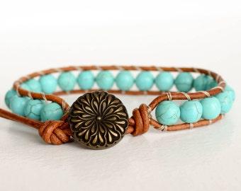 Turquoise Wrap Bracelet • Turquoise Bracelet • Turquoise  Leather Bracelet • Boho Wrap Bracelet • Beaded Wrap Bracelet 1XTBR12