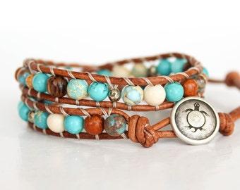 Boho Wrap Bracelet, Turquoise Wrap Bracelet, Turquoise Leather Wrap Bracelet, Boho Gemstone Bracelet, Wrap Bracelets For Women • 2XBT001