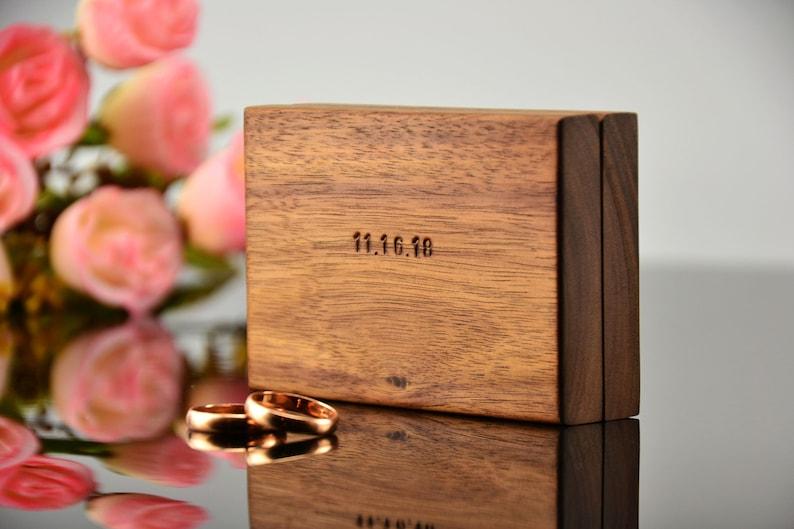 personalized box ring proposal dark wood pocket slim engagement wood box