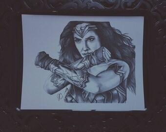 Wonder Woman Portrait Drawing