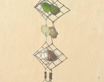 Shell Sea Glass Metal Wood Pebble Mobile   Wall Hanging   Wall Decoration   Home Decor