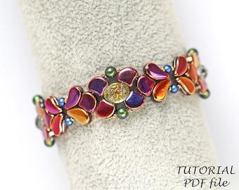 Beaded bracelet tutorial, Two hole beads, Bracelet pattern, Beadwork pattern; Paisley, Ginko, Baroque Cabochon ~Bead weaving tutorial Deanna