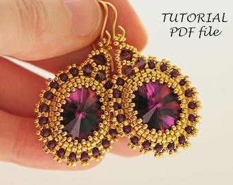 Beading tutorial earrings, Beaded earrings pattern, Rivoli earrings tutorial, Oval Rivoli Swariovski 4122, Bead earrings tutorial Amethyst