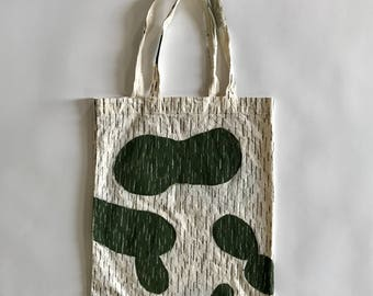 Hand painted rain camo eco bag (L)