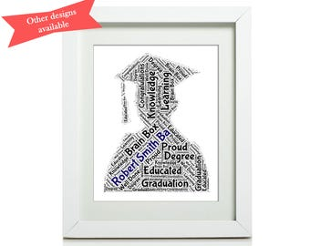 Graduation, Word Art, Personalised Print