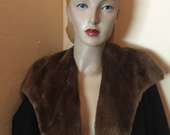 vintage 1950s black full length wool coat mocha brown faux fur lining pin up bombshell