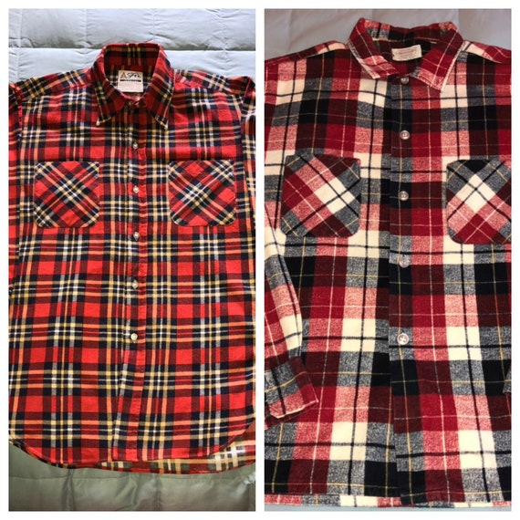 2 vintage 1950s red plaid cotton flannel shirts ro