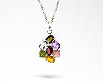 Flower pendant. Silver Pendant. Tourmaline pendant, Amethyst, Rose Quartz, Citrine, Sphene, Beryl blue, Garnet
