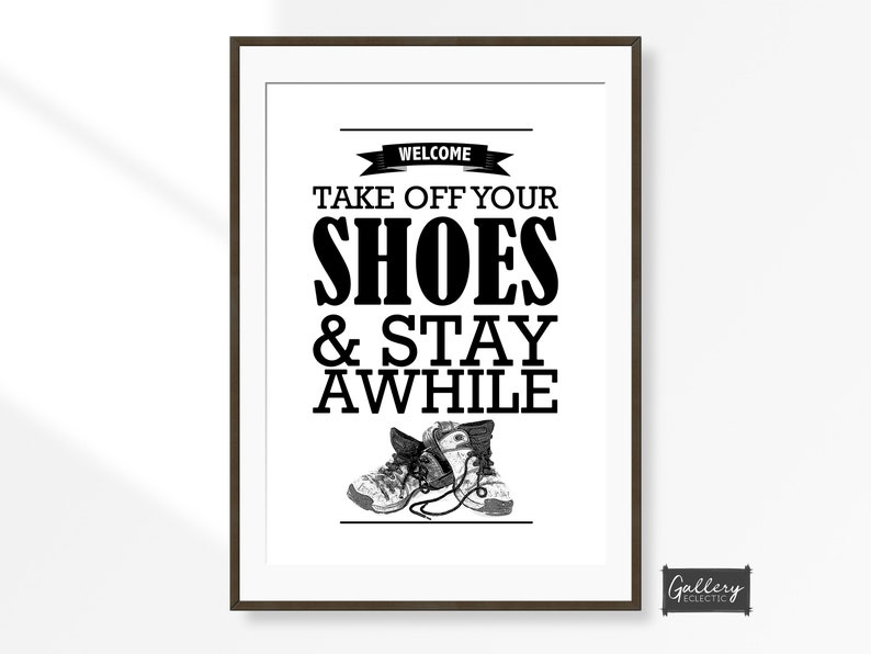 4cc79af480a7f Take off your Shoes Wall Art, Shoes Off Hallway Sign, Welcome Poster,  Hallway Wall Decor