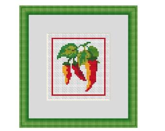 Pepper Cross Stich Pattern. Pepper X-Stitch Pattern. Counted Cross Stitch Pattern. PDF Instant Download. Vegetables. DIY. Kitchen Decor.