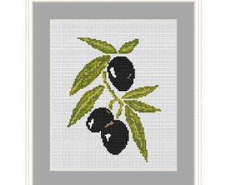 Black Olives Cross Stich Pattern. Olives X-Stitch Pattern. Counted Cross Stitch Pattern. PDF Instant Download. Vegetables DIY. Kitchen Decor