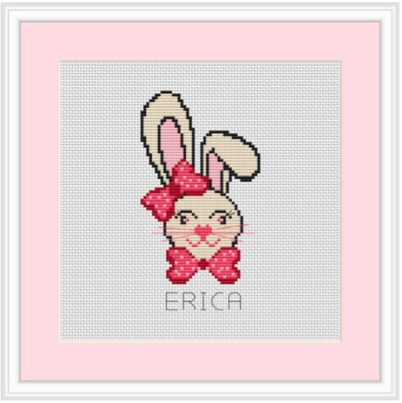 Beginner Cross Stitch. Customization Bunny Girl Cross Stitch Kit Bunny Cross Stitch Personalized Custom Name Baby Room Decor