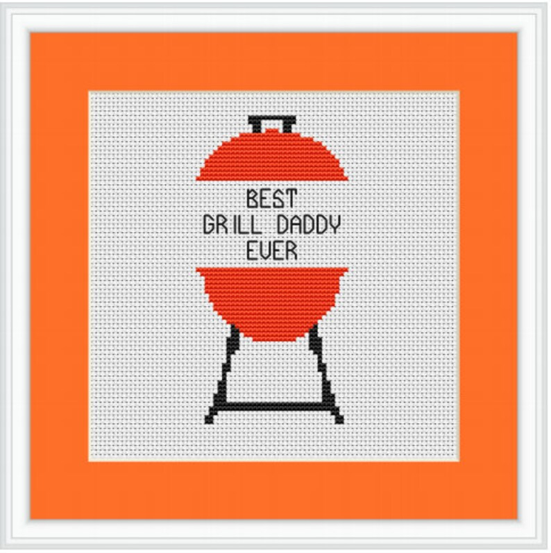Father/'s Day Gift For Dad Best Grill Daddy Ever Cross Stitch Kit Father/'s Day Cross Stitch Kit Quotes Cross Stitch Kit Grill Master.