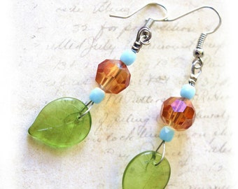Nature earrings orange blue and green