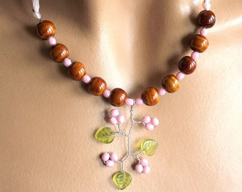 Pink Green Brown jewelry set