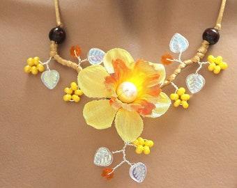 Set of jewelery flower Daffodil yellow and orange