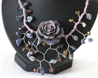 Purple necklace romantic flower cold porcelain