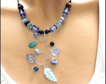 Leaf branch bird jewelry set blue