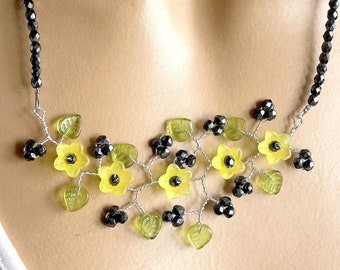 Black and yellow necklace branch flower beads