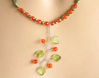 Plunging orange and green necklace