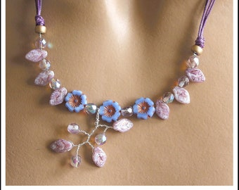 Necklace three Parma violet flowers