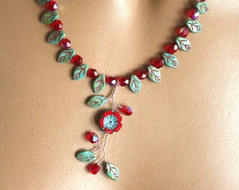 Red and green turquoise leaf necklace