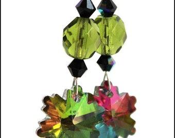 Green and black crystal snowflake earrings