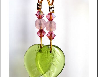 Earrings pink and green Crystal and glass